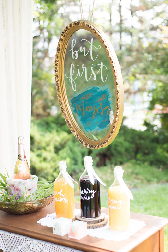 Mirrored mimosa bar from a Boho Backyard Brunch Birthday Party on Kara's Party Ideas | KarasPartyIdeas.com (31)
