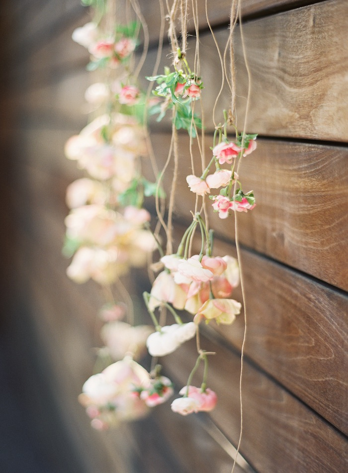 Flower garland backdrop from a Boho Cake Workshop Bridal Shower on Kara's Party Ideas | KarasPartyIdeas.com (14)