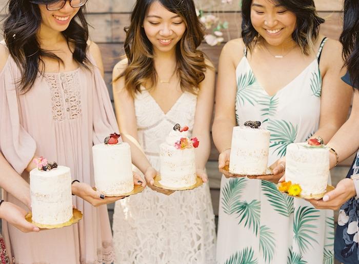 Mini boho cakes from a Boho Cake Workshop Bridal Shower on Kara's Party Ideas   KarasPartyIdeas.com (4)
