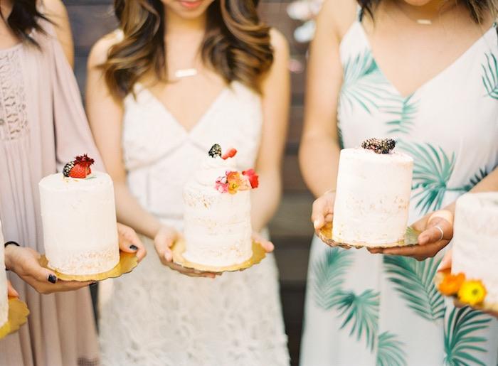 Finished mini boho cakes from a Boho Cake Workshop Bridal Shower on Kara's Party Ideas   KarasPartyIdeas.com (3)