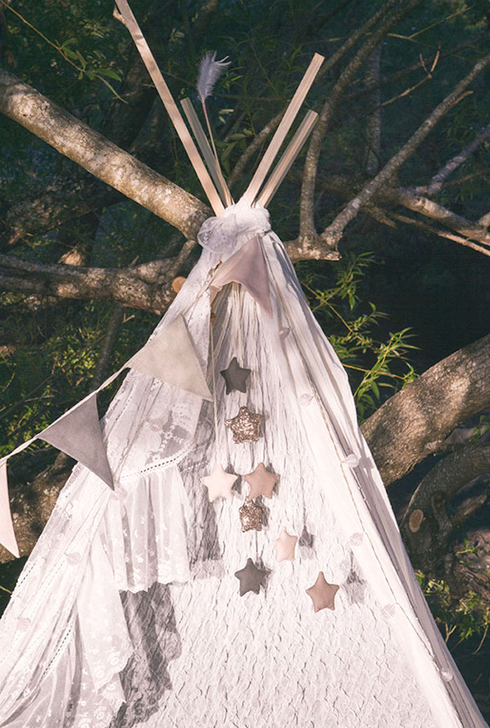 Boho teepee from a Boho Lakeside Camping Party on Kara's Party Ideas | KarasPartyIdeas.com (6)