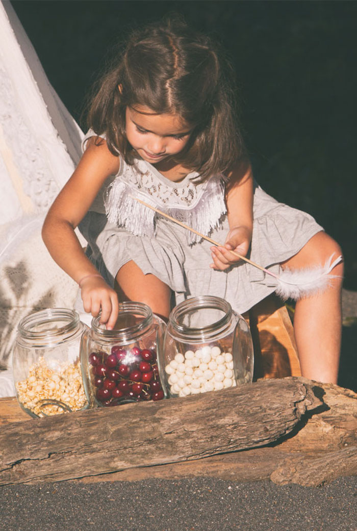 Candy bar from a Boho Lakeside Camping Party on Kara's Party Ideas | KarasPartyIdeas.com (13)
