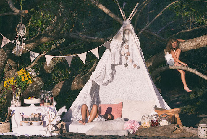 Bohemian party spread from a Boho Lakeside Camping Party on Kara's Party Ideas | KarasPartyIdeas.com (11)