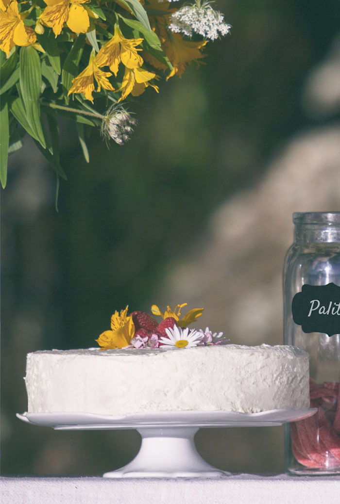 Flower-topped cake from a Boho Lakeside Camping Party on Kara's Party Ideas | KarasPartyIdeas.com (7)