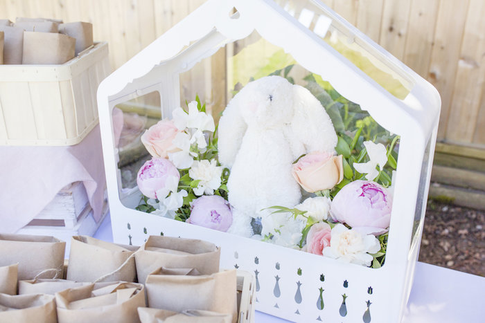 Floral bunny centerpiece from a Bunny 1st Birthday Party on Kara's Party Ideas | KarasPartyIdeas.com (7)