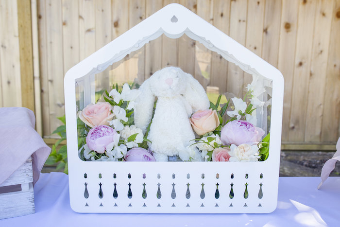 Floral bunny centerpiece from a Bunny 1st Birthday Party on Kara's Party Ideas | KarasPartyIdeas.com (6)