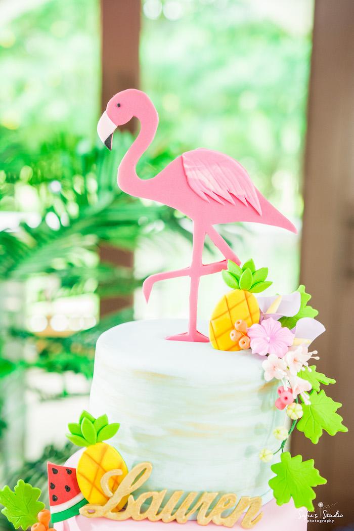 Flamingo cake top from a Chic Flamingo Birthday Party on Kara's Party Ideas | KarasPartyIdeas.com (14)