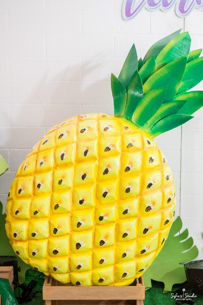 Pineapple decoration from a Chic Flamingo Birthday Party on Kara's Party Ideas | KarasPartyIdeas.com (13)