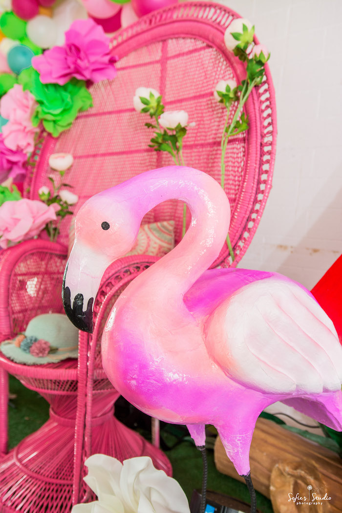 Pink wicker chair + flamingo from a Chic Flamingo Birthday Party on Kara's Party Ideas | KarasPartyIdeas.com (12)