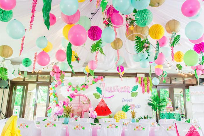 Overhead decor from a Chic Flamingo Birthday Party on Kara's Party Ideas | KarasPartyIdeas.com (11)