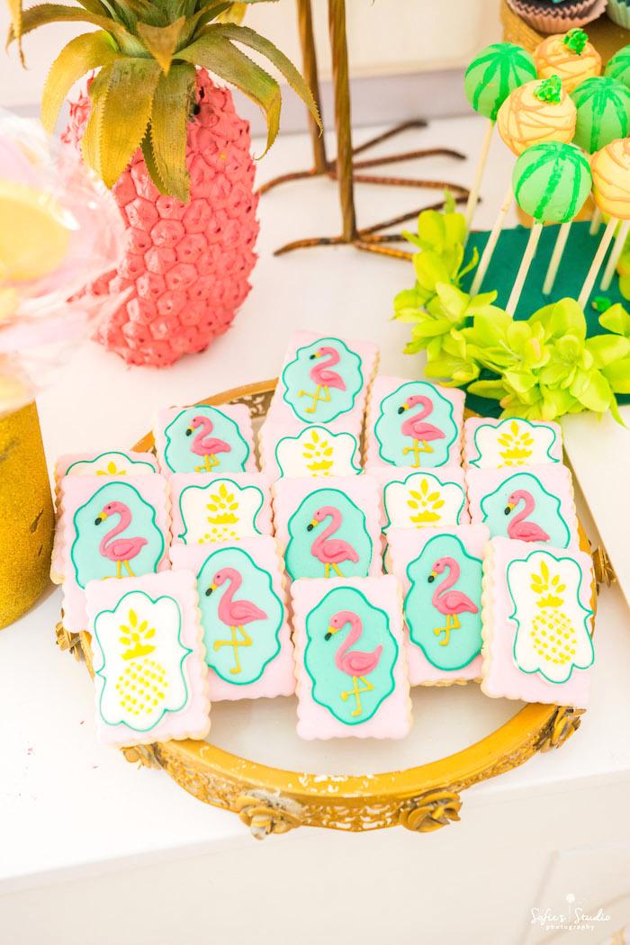 Flamingo cookies from a Chic Flamingo Birthday Party on Kara's Party Ideas | KarasPartyIdeas.com (23)