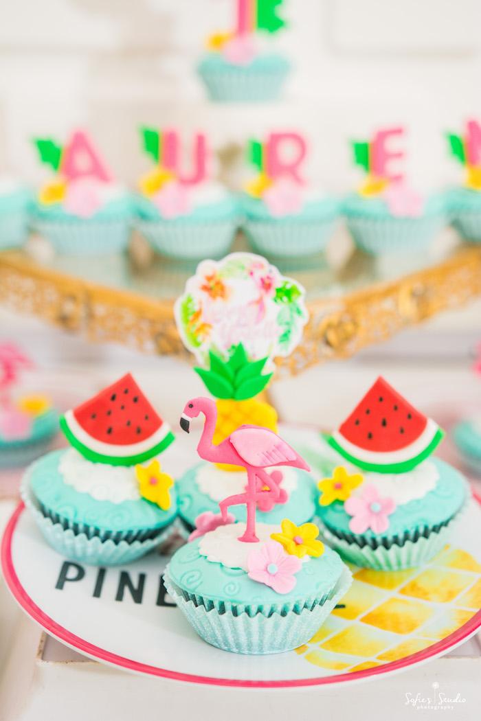 Tropical cupcakes from a Chic Flamingo Birthday Party on Kara's Party Ideas | KarasPartyIdeas.com (21)