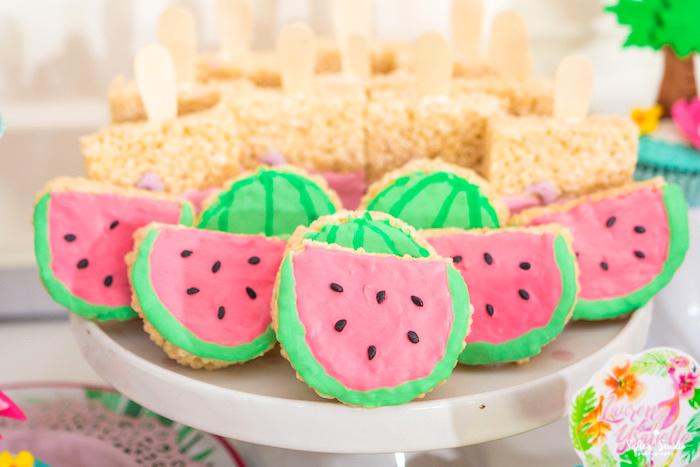 Watermelon Rice Krispie Treats from a Chic Flamingo Birthday Party on Kara's Party Ideas | KarasPartyIdeas.com (20)