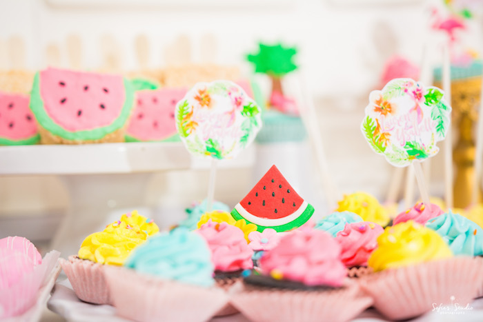 Cupcake toppers from a Chic Flamingo Birthday Party on Kara's Party Ideas | KarasPartyIdeas.com (19)