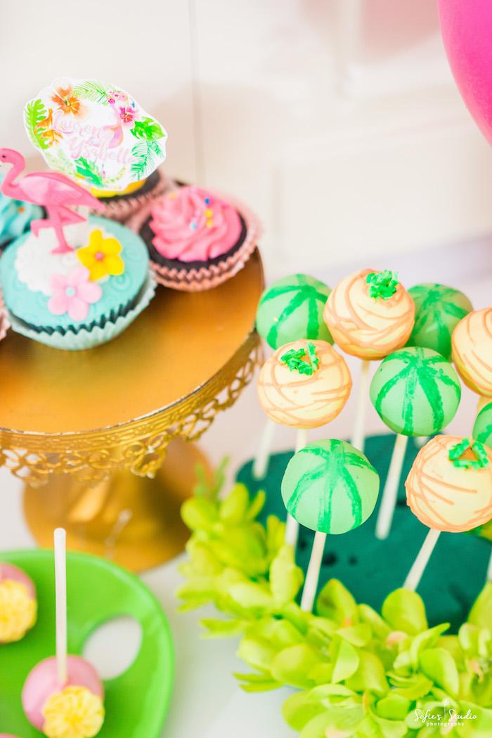Tropical cake pops from a Chic Flamingo Birthday Party on Kara's Party Ideas | KarasPartyIdeas.com (18)