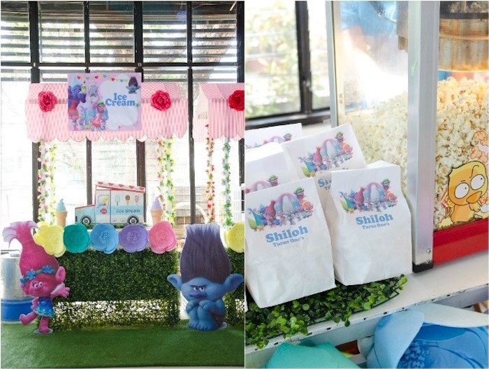 Trolls ice cream stand & lunch sacks from a Colorful Trolls Birthday Party on Kara's Party Ideas | KarasPartyIdeas.com (14)