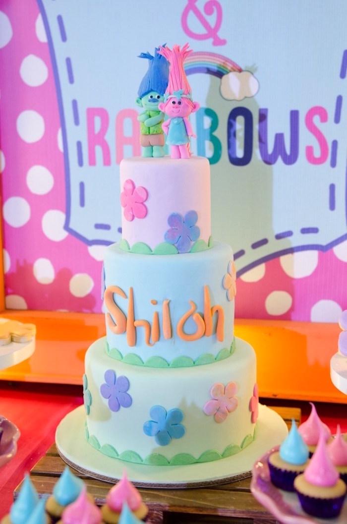 Trolls Cake from a Colorful Trolls Birthday Party on Kara's Party Ideas | KarasPartyIdeas.com (12)