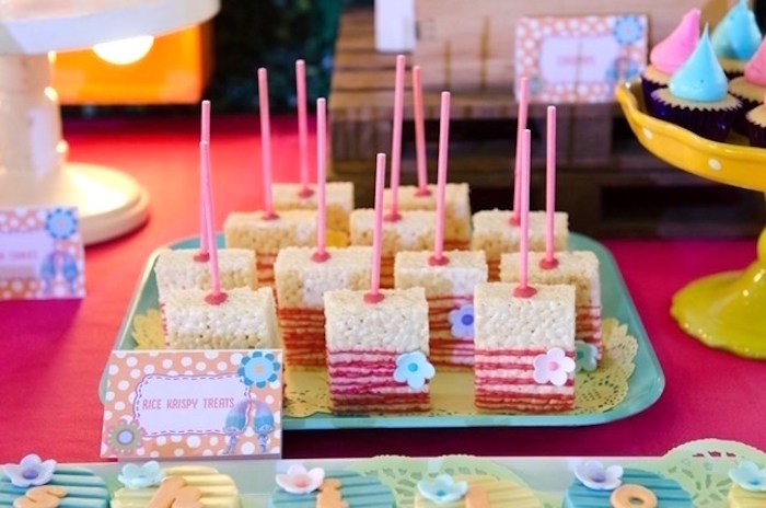 Rice Krispie Treats from a Colorful Trolls Birthday Party on Kara's Party Ideas | KarasPartyIdeas.com (10)