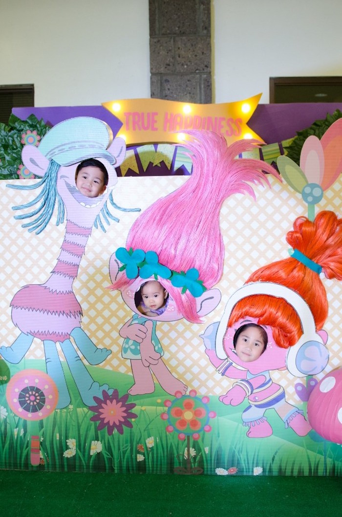 Trolls photo booth from a Colorful Trolls Birthday Party on Kara's Party Ideas | KarasPartyIdeas.com (8)