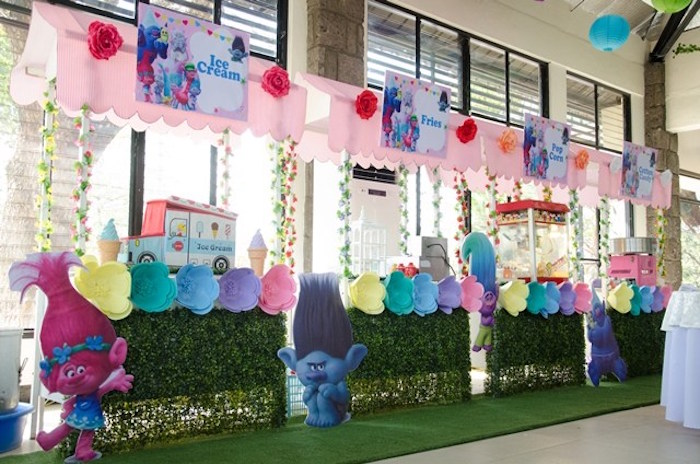 Trolls-inspired food stands from a Colorful Trolls Birthday Party on Kara's Party Ideas | KarasPartyIdeas.com (7)
