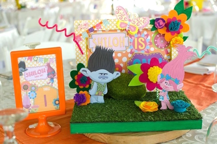 Trolls table centerpiece from a Colorful Trolls Birthday Party on Kara's Party Ideas | KarasPartyIdeas.com (23)