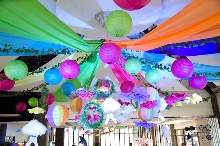 Paper lantern and fabric panel ceilingscape from a Colorful Trolls Birthday Party on Kara's Party Ideas | KarasPartyIdeas.com (4)