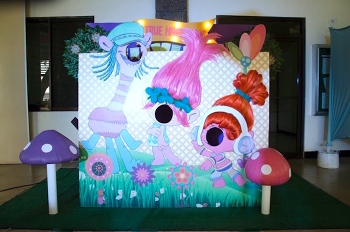 Trolls photo booth from a Colorful Trolls Birthday Party on Kara's Party Ideas | KarasPartyIdeas.com (3)