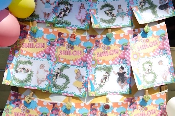 Milestone photo banner from a Colorful Trolls Birthday Party on Kara's Party Ideas | KarasPartyIdeas.com (20)