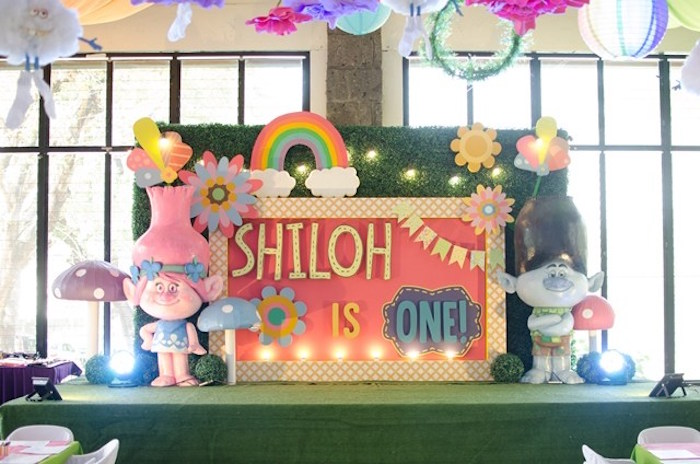 Trolls Party Stage from a Colorful Trolls Birthday Party on Kara's Party Ideas | KarasPartyIdeas.com (16)