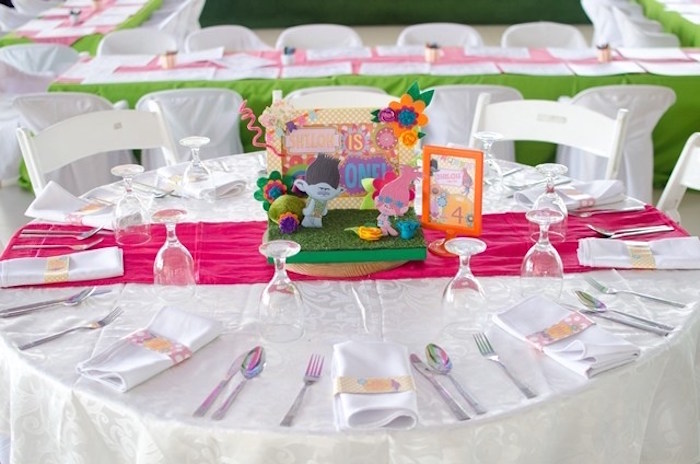 Trolls guest table from a Colorful Trolls Birthday Party on Kara's Party Ideas | KarasPartyIdeas.com (15)