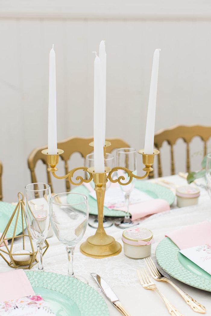 Candleabra + candlesticks from an Elegant Backyard Wedding on Kara's Party Ideas | KarasPartyIdeas.com (12)