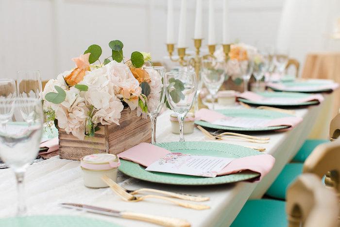 Guest tablescape + place setting from an Elegant Backyard Wedding on Kara's Party Ideas | KarasPartyIdeas.com (9)