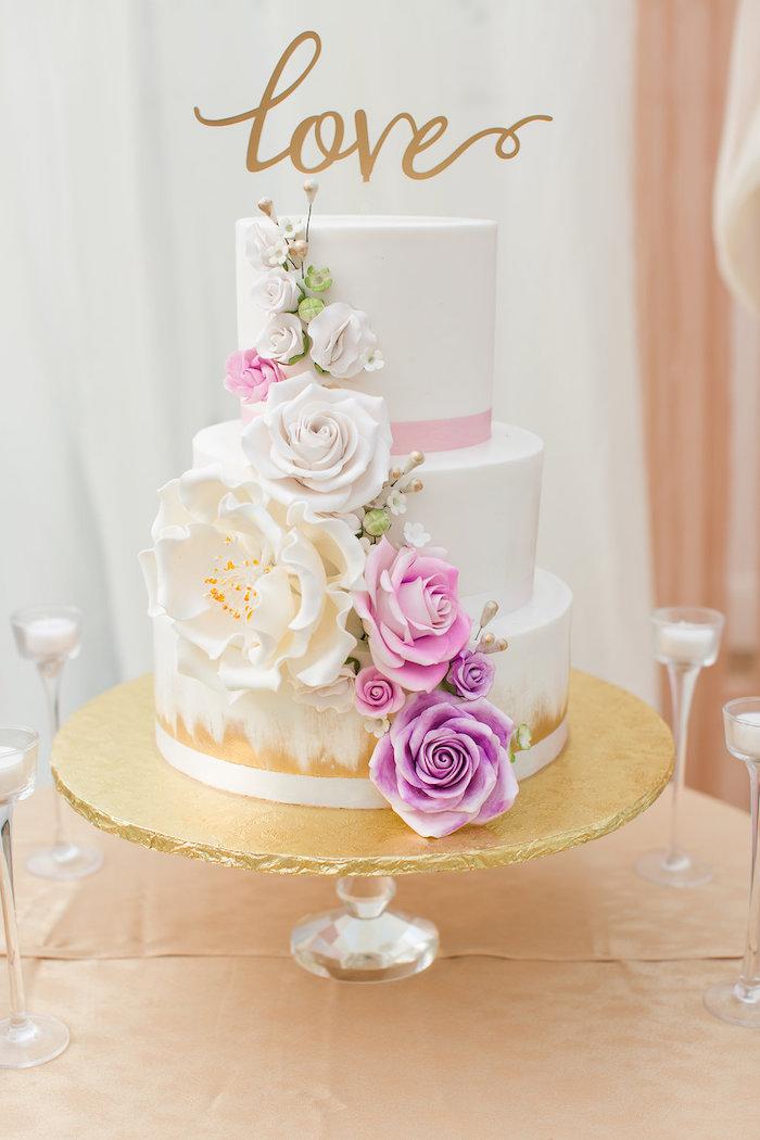Floral cake from an Elegant Backyard Wedding on Kara's Party Ideas | KarasPartyIdeas.com (8)