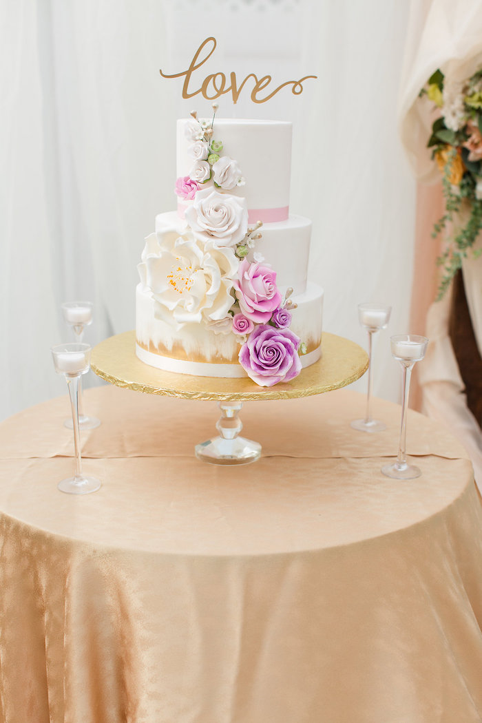 Cake table from an Elegant Backyard Wedding on Kara's Party Ideas | KarasPartyIdeas.com (7)