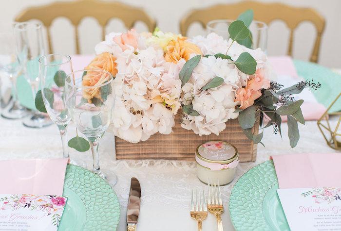 Floral centerpiece + guest table from an Elegant Backyard Wedding on Kara's Party Ideas | KarasPartyIdeas.com (21)