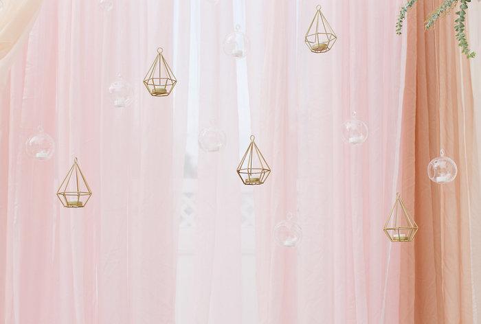 Hanging, diamond-shaped, wire tea light candle holders from an Elegant Backyard Wedding on Kara's Party Ideas | KarasPartyIdeas.com (2)