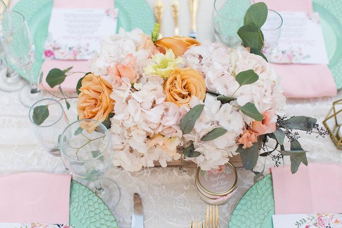 Floral centerpiece from an Elegant Backyard Wedding on Kara's Party Ideas | KarasPartyIdeas.com (18)