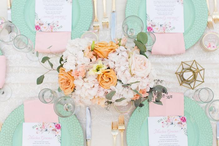 Guest tabletop from an Elegant Backyard Wedding on Kara's Party Ideas | KarasPartyIdeas.com (17)