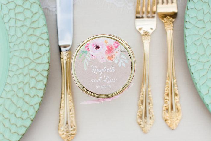 Favor jar from an Elegant Backyard Wedding on Kara's Party Ideas | KarasPartyIdeas.com (16)