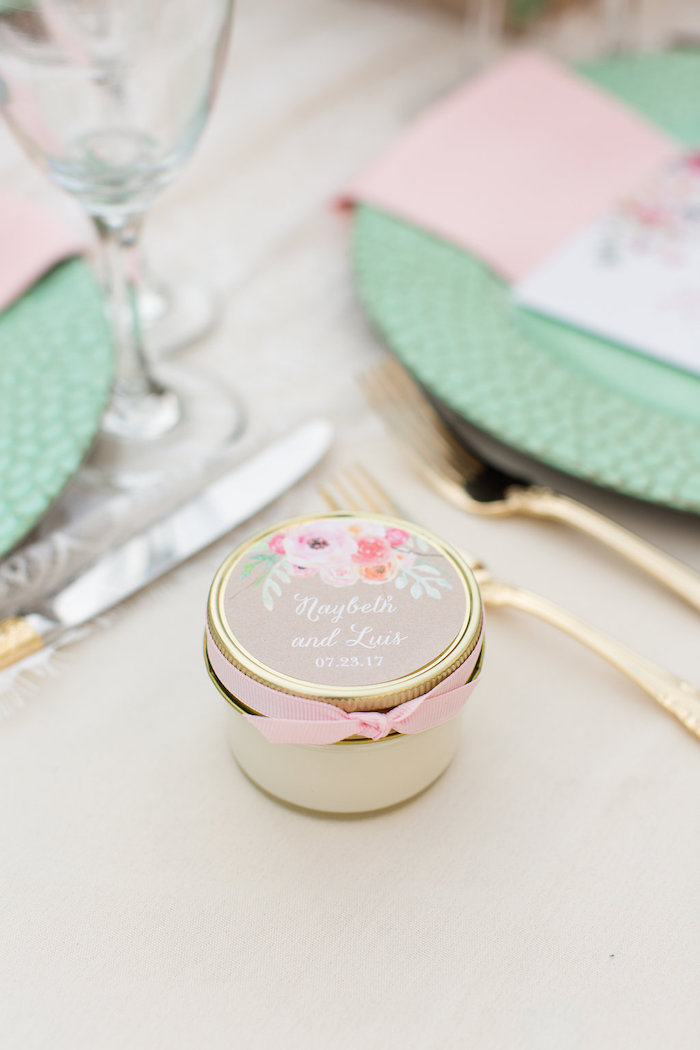 Favor jar from an Elegant Backyard Wedding on Kara's Party Ideas | KarasPartyIdeas.com (14)