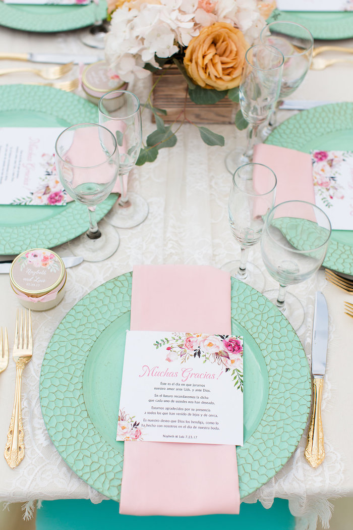 Pink & mint place setting from an elegant Backyard Wedding on Kara's Party Ideas | KarasPartyIdeas.com (13)