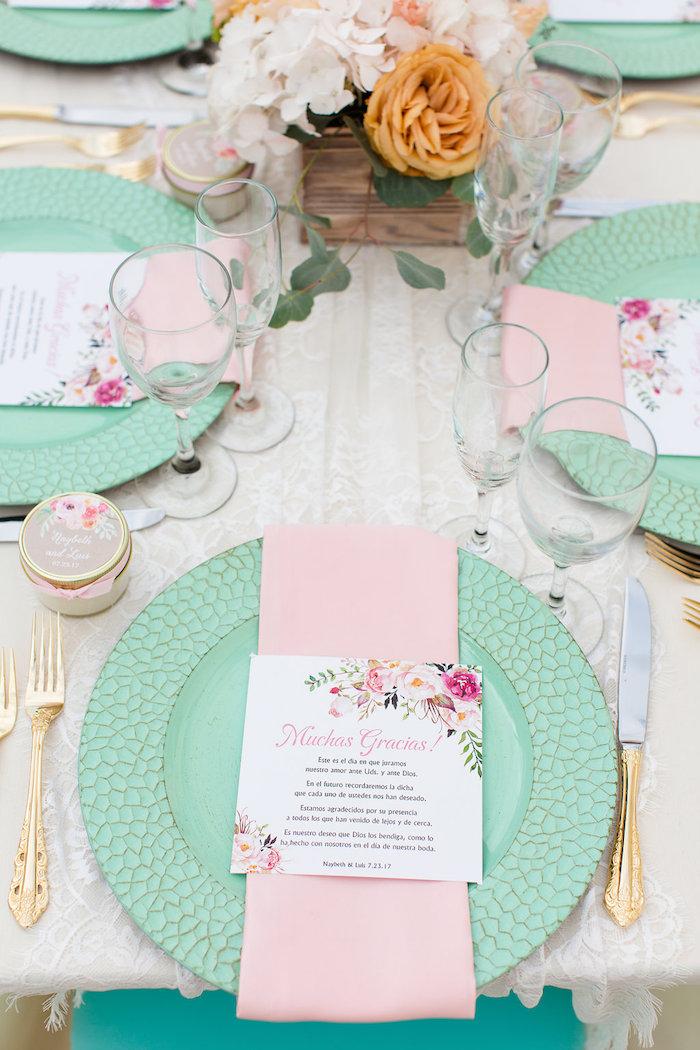 Pink & mint place setting from an elegant Backyard Wedding on Kara's Party Ideas | KarasPartyIdeas.com (13)
