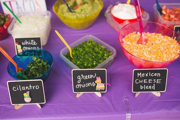 Nacho/taco toppings from an Elena of Avalor Inspired Birthday Fiesta on Kara's Party Ideas | KarasPartyIdeas.com (23)