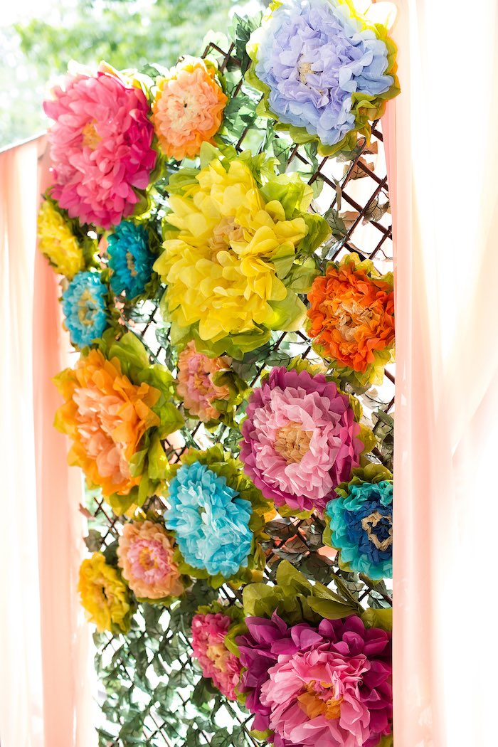 Paper flower backdrop from an Elena of Avalor Inspired Birthday Fiesta on Kara's Party Ideas | KarasPartyIdeas.com (20)