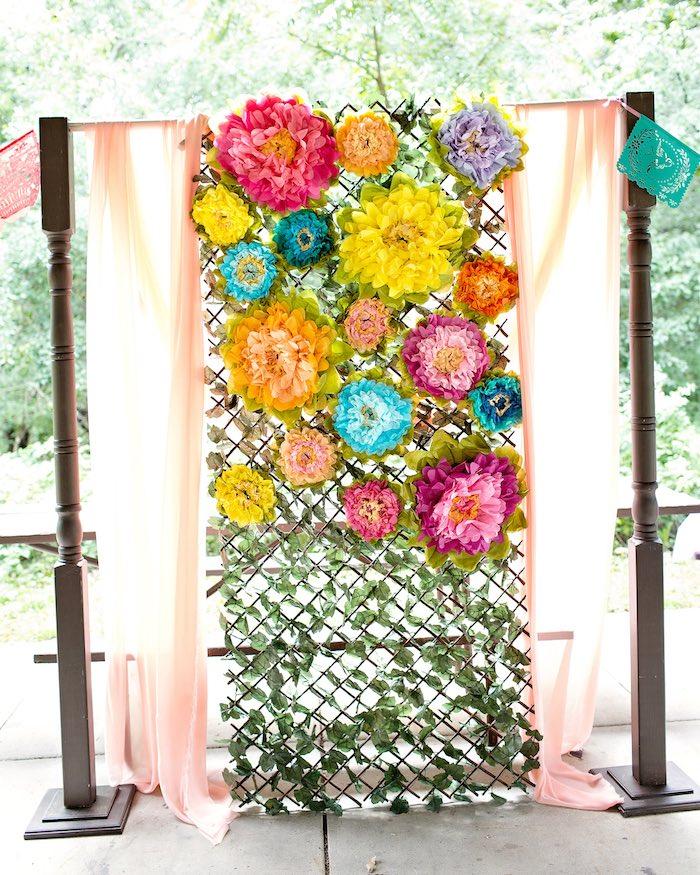 Flower photo wall from an Elena of Avalor Inspired Birthday Fiesta on Kara's Party Ideas | KarasPartyIdeas.com (17)