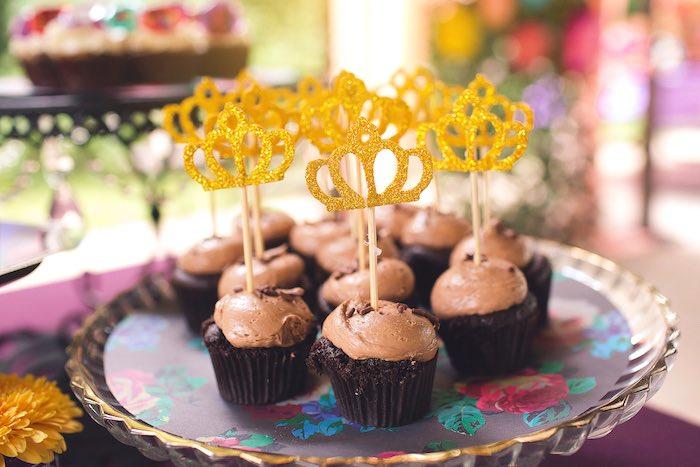 Crown cupcakes from an Elena of Avalor Inspired Birthday Fiesta on Kara's Party Ideas | KarasPartyIdeas.com (15)