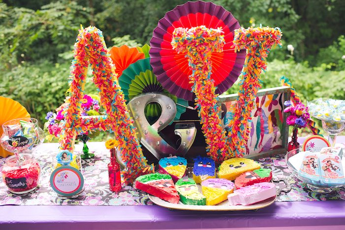 Fiesta table + centerpieces from an Elena of Avalor Inspired Birthday Fiesta on Kara's Party Ideas | KarasPartyIdeas.com (14)