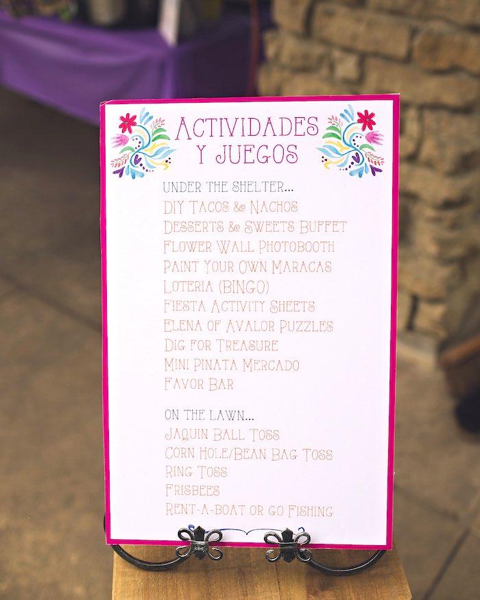 Activity board from Elena of Avalor Inspired Birthday Fiesta on Kara's Party Ideas | KarasPartyIdeas.com (10)