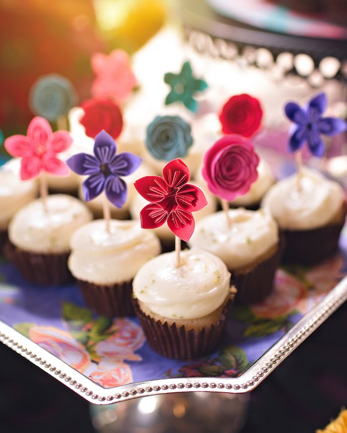 Cupcakes with paper flower toppers from an Elena of Avalor Inspired Birthday Fiesta on Kara's Party Ideas | KarasPartyIdeas.com (30)