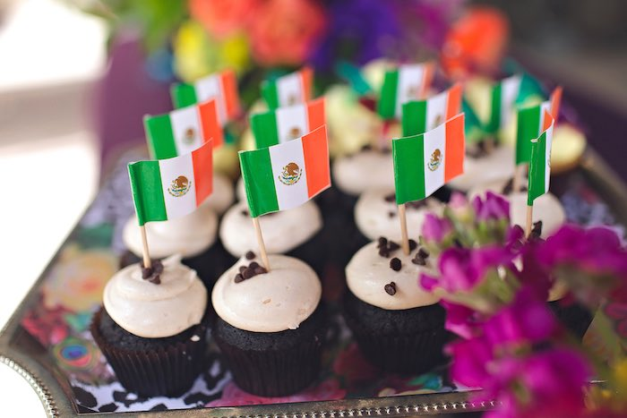 Cupcakes with Mexican Flag toppers from an Elena of Avalor Inspired Birthday Fiesta on Kara's Party Ideas | KarasPartyIdeas.com (28)